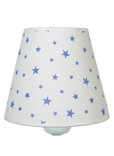 Şenay Aydınlatma Masa Lambası Kumaş B.Abajur-Beyaz Yıldız Renkli